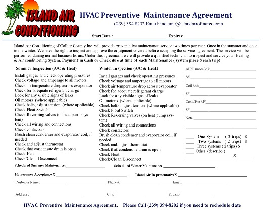 Preventive Maintenance Island Air